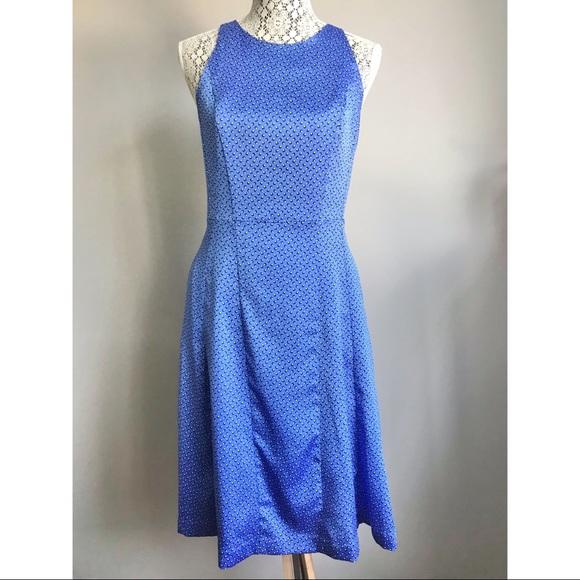 NWOT Banana Republic silky print dress blue size 4